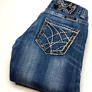 ROCK & ROLL COWGIRL LO RISE BOOT JEANS 25x34 😎